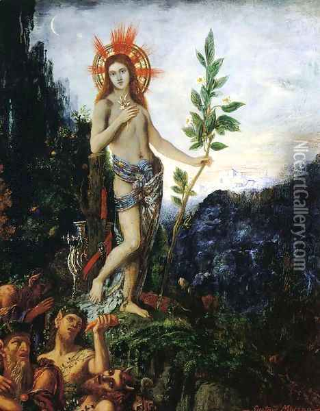 Apollo and the Satyrs Oil Painting - Gustave Moreau