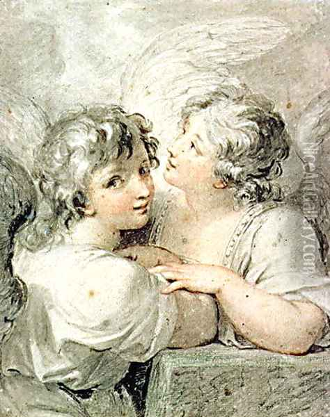 Two angels Oil Painting - Giovanni Battista Cipriani