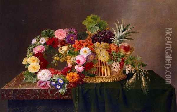 Still Life with a Basket of Fruit and a Wreath of Asters, Dahlias, Day Lillies and Morning Glories Oil Painting - Johan Laurentz Jensen
