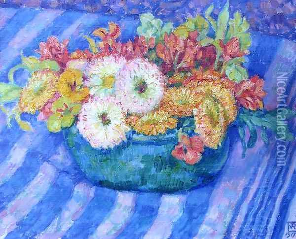 Yellow Bouquet Oil Painting - Theo van Rysselberghe