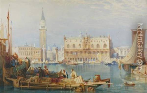 English, - The Bacino San Marco Andthe Doge's Palace, Venice, Circa 1825 Oil Painting - Samuel Prout