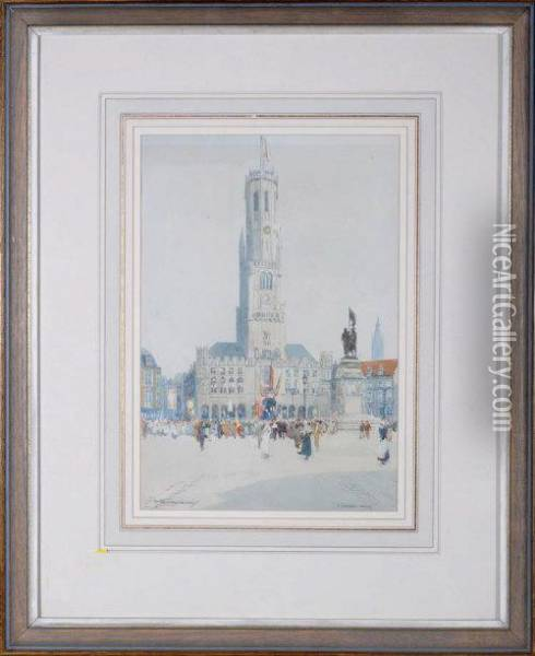 Procession, Bruges Oil Painting - Victor Noble Rainbird