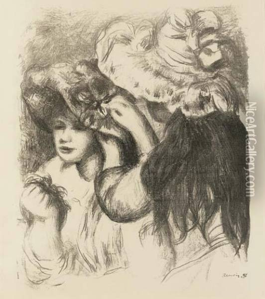 Le Chapeau Epingle, Ire Planche Oil Painting - Pierre Auguste Renoir