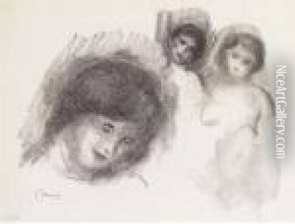 La Pierre Au Trois Croquis, From L'album Des Douze Lithographies Originales Oil Painting - Pierre Auguste Renoir