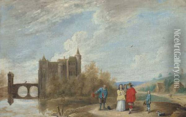 A River Landscape Oil Painting - David The Younger Teniers