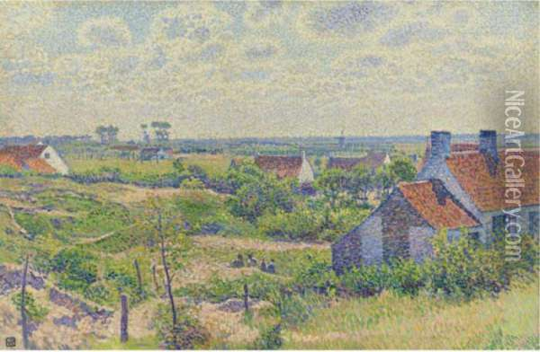 Paysage Avec Maisons Oil Painting - Theo van Rysselberghe