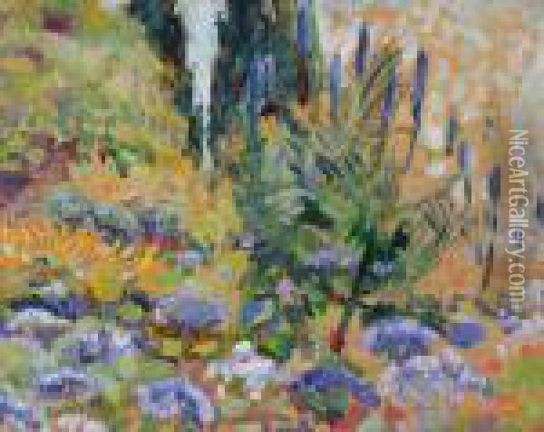 Paysage Avecarums Oil Painting - Theo van Rysselberghe