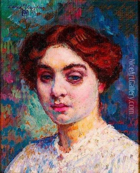 Portrait De Mademoiselle Couvreur Oil Painting - Theo van Rysselberghe