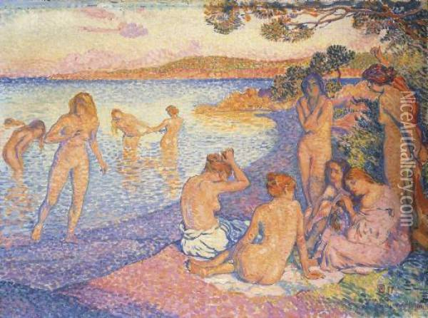 L'heure Embrasee Oil Painting - Theo van Rysselberghe