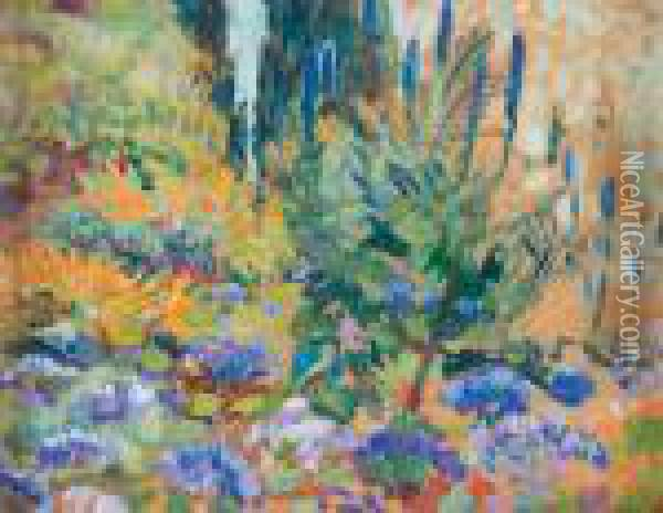 Paysage Aux Arums Et Agapanthes Oil Painting - Theo van Rysselberghe