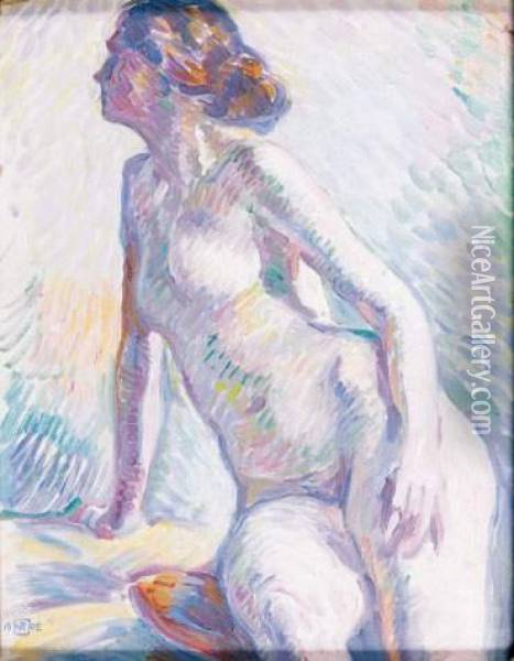 Jeune Femme Assise Oil Painting - Theo van Rysselberghe