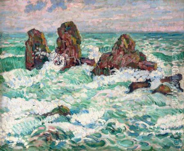 Les Roches Oil Painting - Theo van Rysselberghe