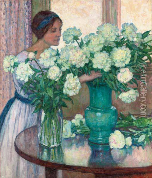 Les Pivoines Blanches Oil Painting - Theo van Rysselberghe