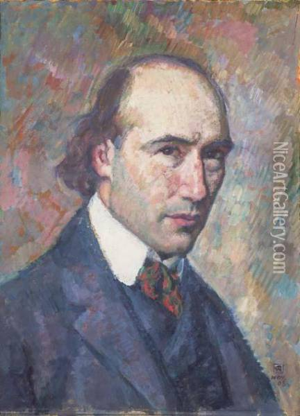Portrait D'andre Gide Oil Painting - Theo van Rysselberghe