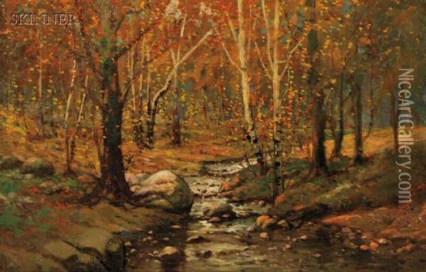 Woodland Brook Oil Painting - William Bliss Baker
