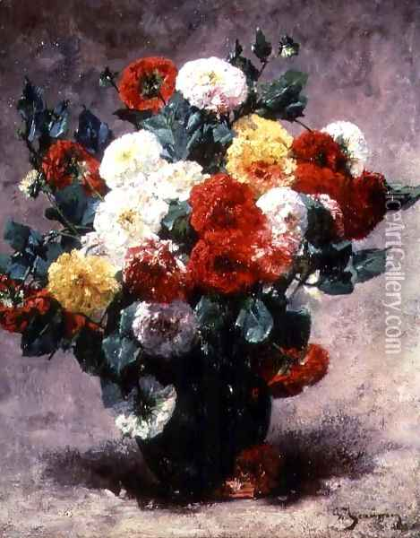 Carnations in a vase Oil Painting - Georges Jeannin
