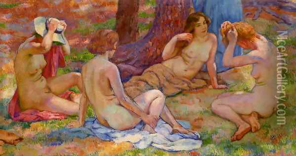 Four Bathers Oil Painting - Theo van Rysselberghe