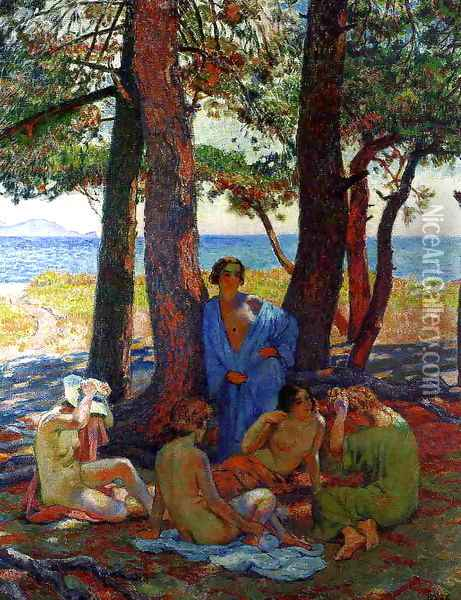 Bathers under the Pines by the Sea Oil Painting - Theo van Rysselberghe