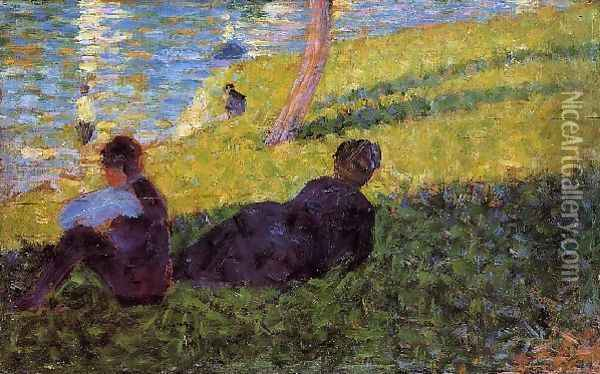 Seated Man Reclining Woman Oil Painting - Georges Seurat