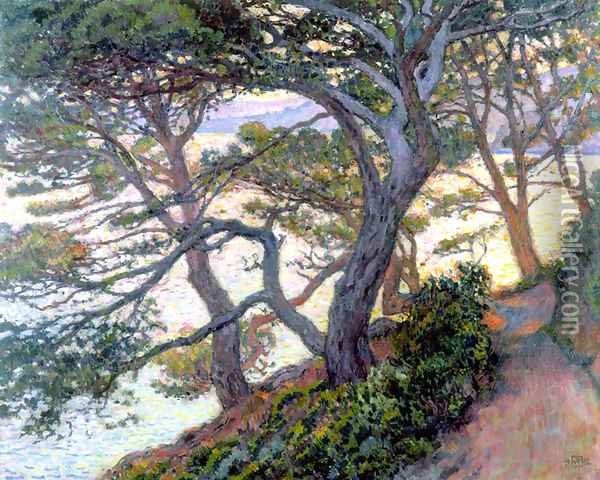 Pines of Rayol Oil Painting - Theo van Rysselberghe