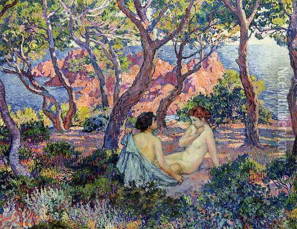 In the Shade of the Pines Oil Painting - Theo van Rysselberghe