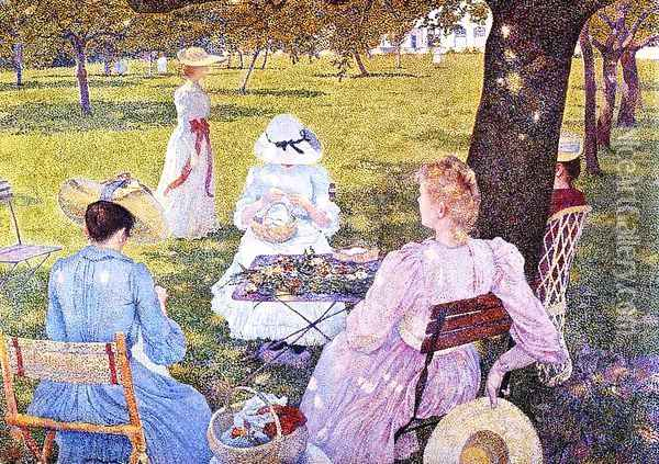 The Family in an Orchard Oil Painting - Theo van Rysselberghe