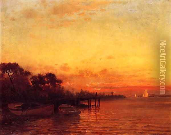 At Sunset Oil Painting - Francis Augustus Silva