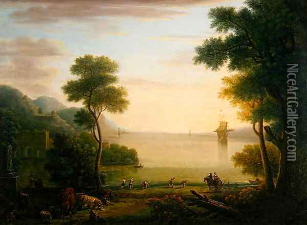 Classical landscape with figures and animals, Sunset, 1754 Oil Painting - John Wootton