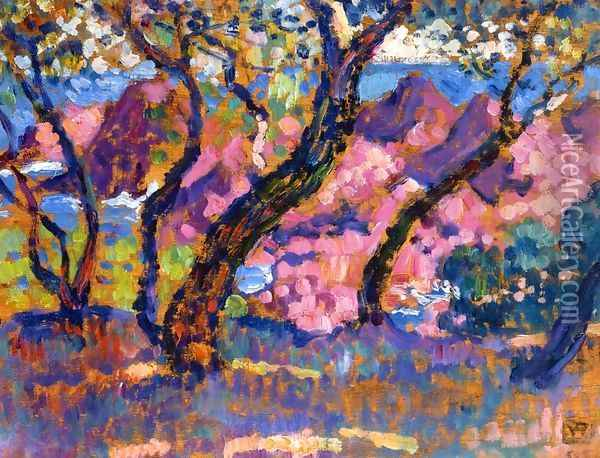 In the Shade of the Pines (study) Oil Painting - Theo van Rysselberghe