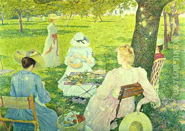 Family in the Orchard, 1890 Oil Painting - Theo van Rysselberghe