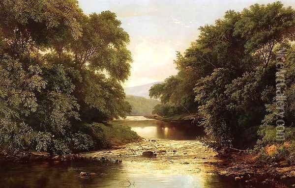 Fishing by a River Oil Painting - William Mason Brown
