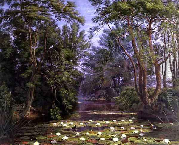River Cherwell Waterlilies Oil Painting - William Turner