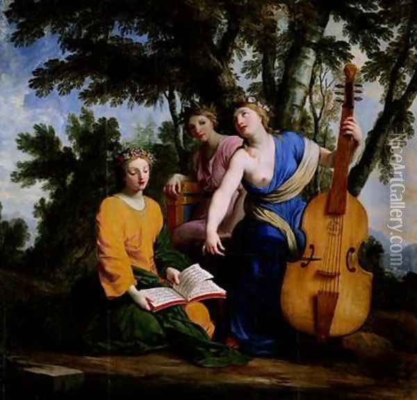 The Muses Melpomene Erato and Polymnia Oil Painting - Eustache Le Sueur