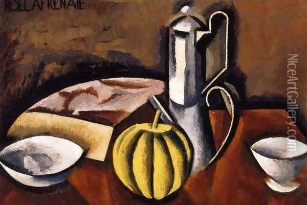 Still Life with Coffee Pot and Melon Oil Painting - Roger de La Fresnaye