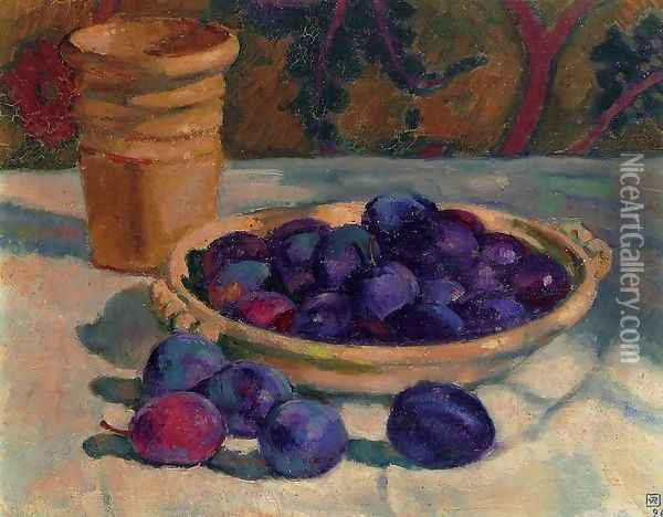 Still Life with Plums Oil Painting - Theo van Rysselberghe