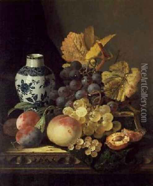 Grapes Peaches Plums and Currants with a Blue and White Vase Oil Painting - Edward Ladell