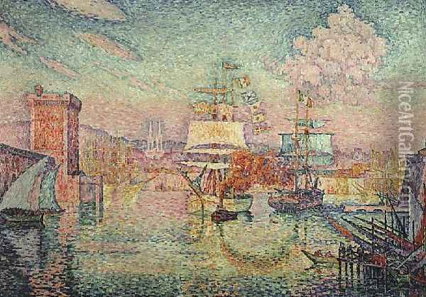 Entrance to the Port of Marseille, 1918 Oil Painting - Paul Signac