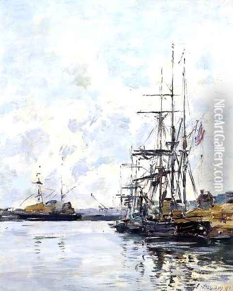 Port, Sailboats at Anchor Oil Painting - Eugene Boudin