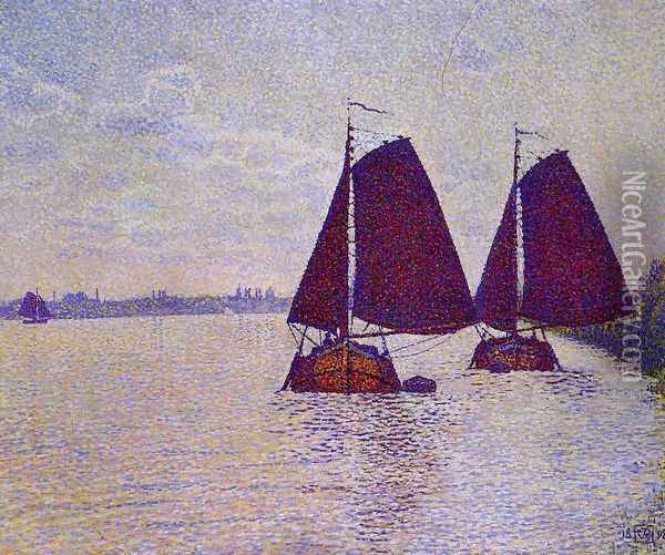 Barges on the River Scheldt Oil Painting - Theo van Rysselberghe