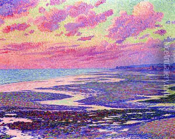 The Beach at Ambleteuse at Low Tide Oil Painting - Theo van Rysselberghe