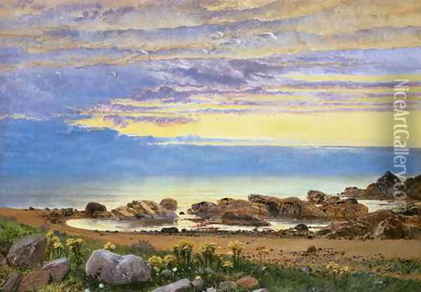Dawn over the Sea Oil Painting - William Bell Scott