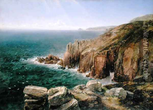 Land's End, Cornwall Oil Painting - Thomas Creswick