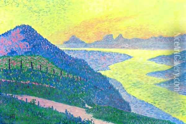 Sunset at Ambleteuse Oil Painting - Theo van Rysselberghe