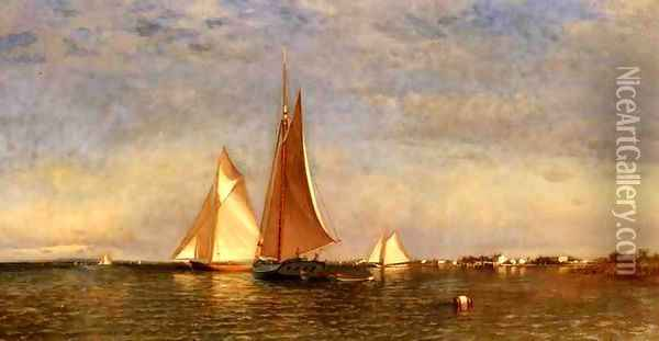 Fishing Boats on Jamaica Bay Oil Painting - Francis Augustus Silva