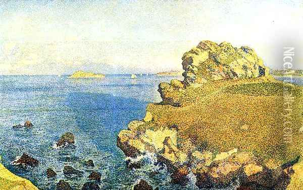 The Pointe de per Kiridec at Roscoff, Brittany Oil Painting - Theo van Rysselberghe