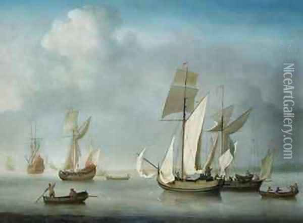 Becalmed off the Coast Oil Painting - Charles Brooking