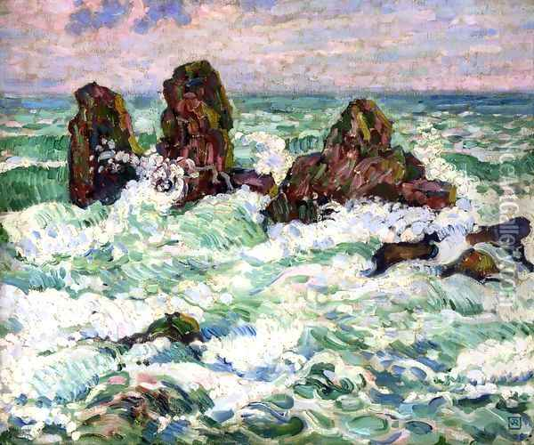 The Rocks Oil Painting - Theo van Rysselberghe