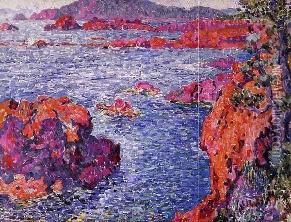 Rocks at Antheor Oil Painting - Theo van Rysselberghe