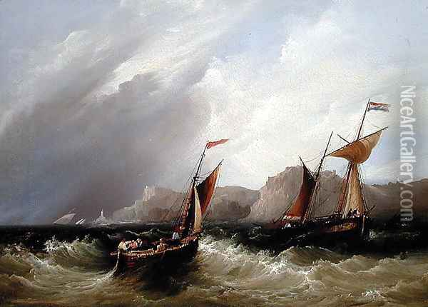 Vessels off a Rocky Coastline Oil Painting - Frederick Calvert