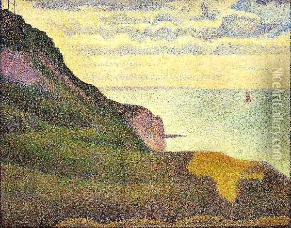 Port En Bessin The Semaphore And Cliffs Oil Painting - Georges Seurat